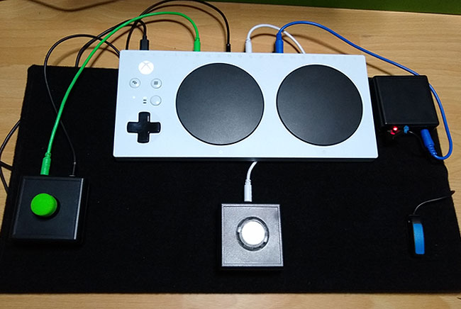 An Xbox Adaptive Controller with Ultrastick and Titan Two Game Control Mixer.