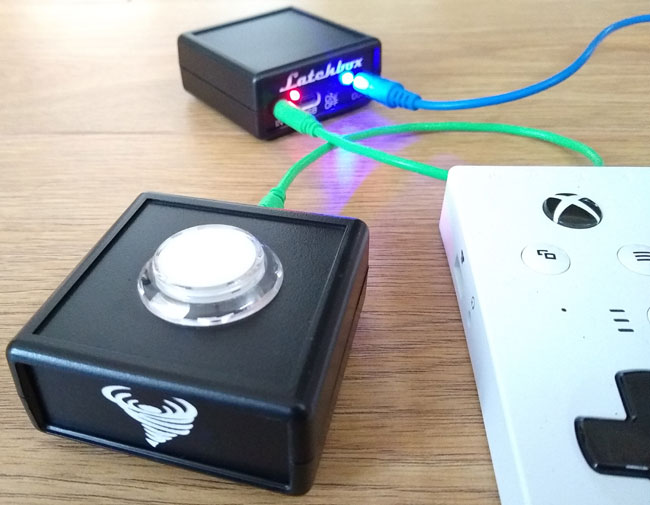Image of a OneSwitch SANWA switch with latching box.