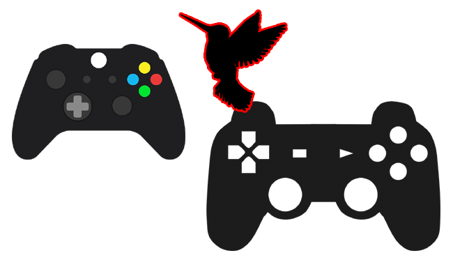 Lightweight light pressure sensitive video game controls. Image of Xbox and Playstation gamepads with a humming bird.