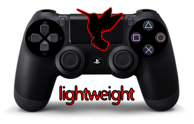 PS4 Lightweight sensitive light pressure dualshock controller. Image of controller includes the outline of a humming bird.