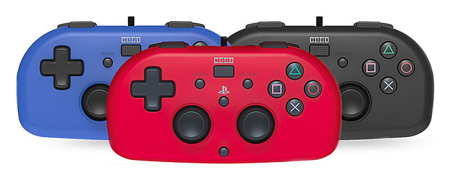 HORI mini lightweight controller in red, black and blue.