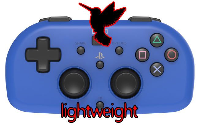 PS4 HORI mini Lightweight sensitive light pressure game controller. Image of controller includes the outline of a humming bird.