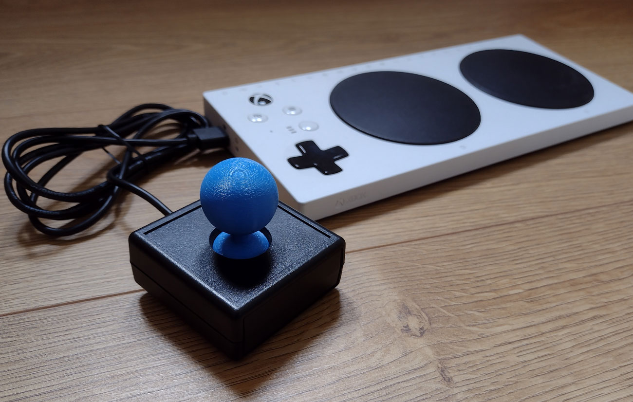 Blue squidgy ball top for a XAC joystick.