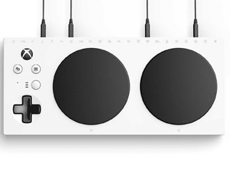 Xbox Adaptive Controller: White slab controller with large black controls.