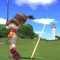 PS2 game Everybody's Golf. Can be played with a little assistance with one switch.