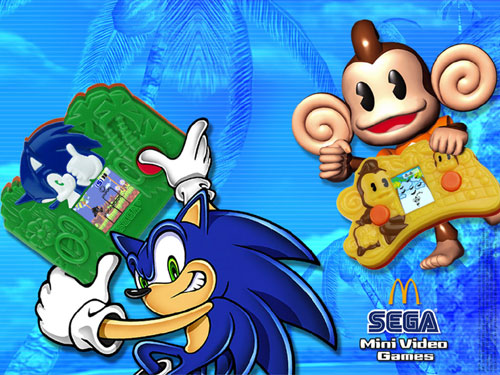 Image of SEGA Mini Video Games demonstrated by Sonic the Hedgehog and AiAi from Super Monkey Ball.