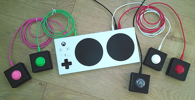 Sanwa accessibility switches. Xbox Adaptive Controller.