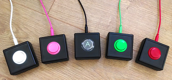 Sanwa accessibility switches. Various colours.