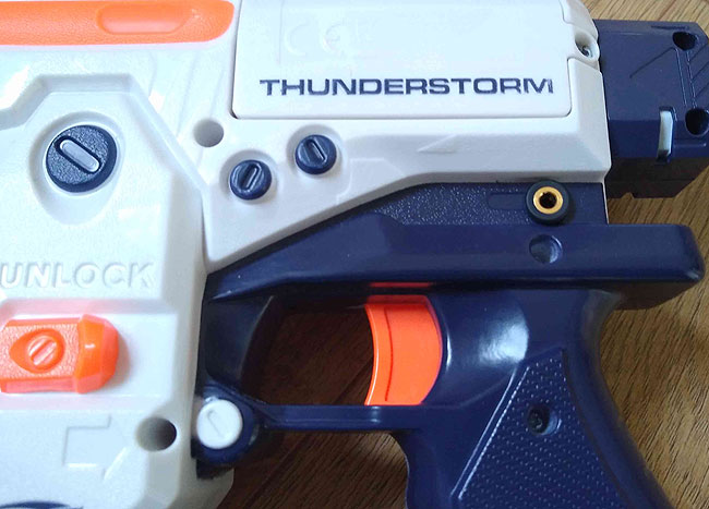 Close up of NERF Thunderstorm battery compartment and accessibility switch socket.