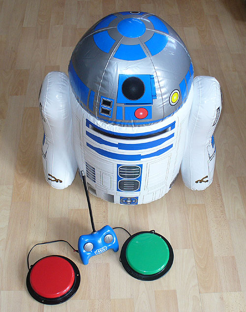 R2D2 with switch-adapted handset.