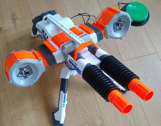NERF Rhino-Elite Foam Dart gun switch accessible.