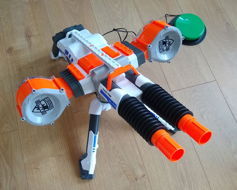 NERF Rhino switch adapted large plastic double-barrelled toy sentry gun.