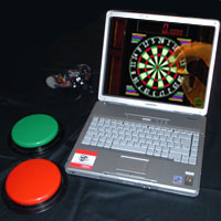 Laptop computer with two switches and adapted MadCatz controller.