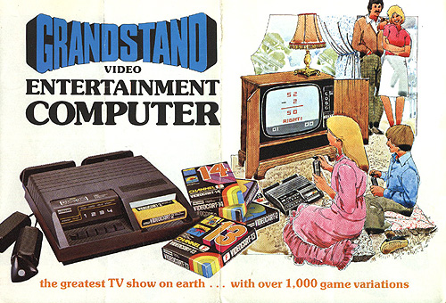 Drawn picture of a boy and girl playing a Grandstand Video Entertainment Computer (which is a rebranded Fairchild Channel F console. The wooden TV cabinet holds a TV playing a maths game with a lamp on top. A man and woman look on smilingly. A photo of the Grandstand Video Entertainment Computer with games has the text