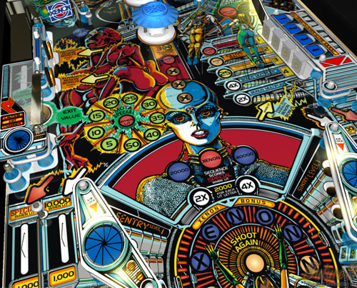 Image of the playfield of a Bally Xenon pinball machine running on Future Pinball.