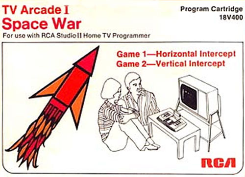 Space War game box - image of a red and orange missile alongside a  b/w drawing of a family playing on their RCA Studio II  Television Game.