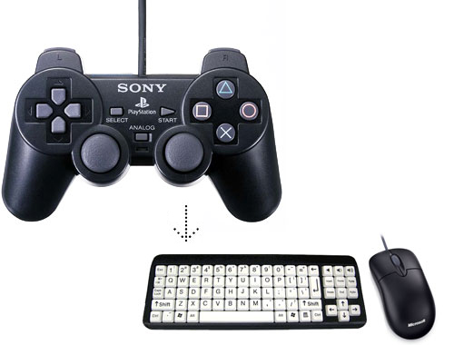 JoyToKey - Use any USB joypad or joystick to act as a mouse keyboard.