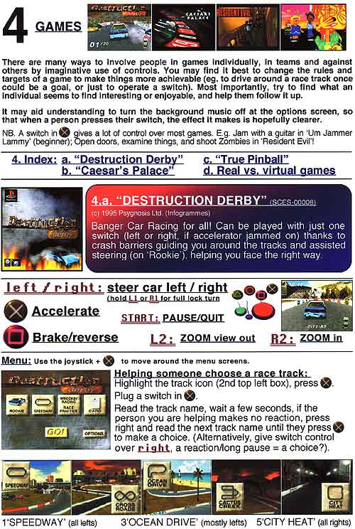 4. Switch accessible Playstation games - (page 13 of 16). Destruction Derby switch guide and help.