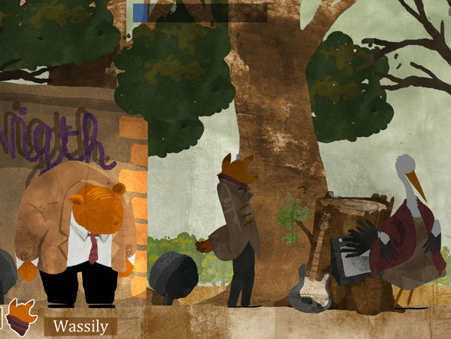 4Ways 4Ward screenshot. Beautifully inked scene of four anthropomorphic animals, smartly dressed facing the same way, surrounded by a tree, night-club, guitar and amp and open sky.