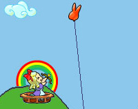 Cartoon Alice in Wonderland in a basket on the top of a hill, surrounded by a protective rainbow, about to fire an arrow up at a rabbit balloon tethered above her.
