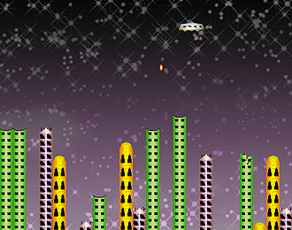 Alien skyscrapers with a UFO above dropping a small bomb.
