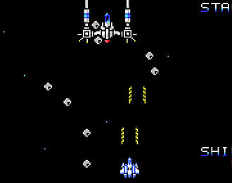 MSX style vertical shoot-em-up. Space craft shoots rods up against a mother-ship big boss.