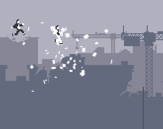 Canabalt image of two pixelated suited characters jumping through glass in space above buildings.