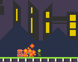 Pixelated low-res pink dalek battling zombies.