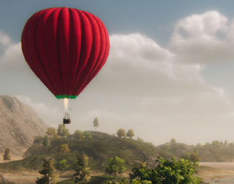 Hot air balloon against a beautiful backdrop.