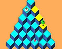 A isometric view of a pyramid made of cubes. A green creature has jumped down the right side changing the light blue blocks to yellow.