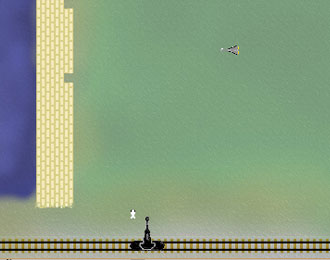 Very basic graphics of a cannon on rails shooting upwards. Basic river and dam to the left.
