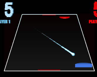 A sparse video game view of an air hockey table.