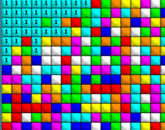 Many square tiles in various colours.