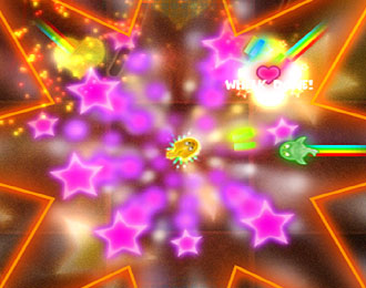 Psychedelic explosions and stars emitting from around a yellow fish in the middle. All constrained by a neon outline of a star.