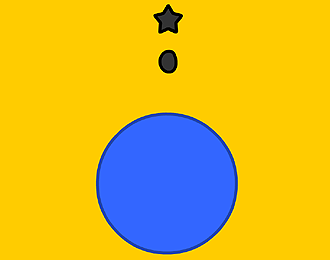 A Yellow back-ground.Large blue ball , with a bouncing blob above it trying to reach a star above.