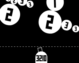 Black and white spartan puzzle game. Big white balls. A turret at the bottom.