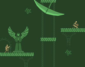 Dingy green medieval platformer. Ominous scythe swings at the top of the screen.