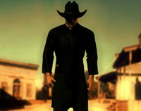 Gunslinger in black squares up towards you in a wild west town.