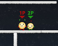 Two cute alien ball like creatures labelled 1P in red and 2P in green look left on a grey platform.