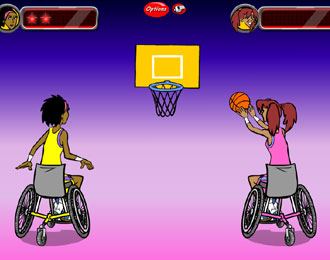 Two sport-wheelchair users playing basketball. Cartoon style.