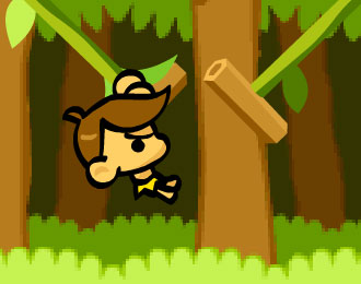 Cartoon Jungle Kid swinging through a jungle.