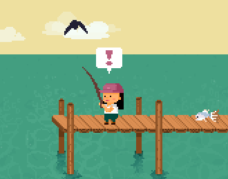 16-bit style image of a young woman on a short pier fishing in the sea. An exclamation mark above her and a bird flying by. One fish on the deck behind her.