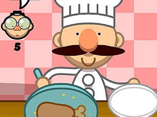 Happy chef with moustache, with pan cooking a leg of meat.