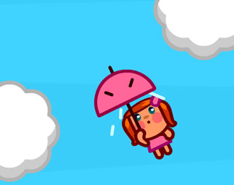 Flying Miss Meteo with an umbrella in the sky.