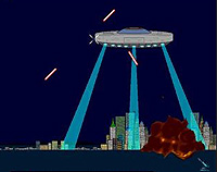 Three cities under attack from missiles and a huge alien mother-ship.