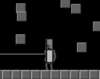 Robot with laser beam in a metallic world of falling blocks.