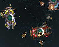 4 deep space giant space crafts in a circular flight-path, surrounded by smaller craft.