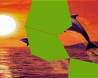 Dolphins jumping out of the sea at sunset. Green polygons are the missing parts of the picture puzzle.