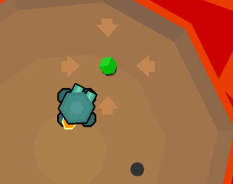Roboto image of a robot jumping in a sandy pit towards a green orb.