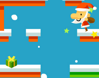 Father Christmas in a cartoon like platform game.